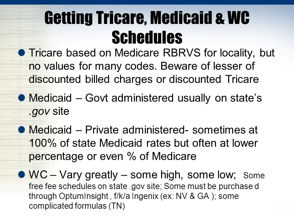 Getting Tricare, Medicaid & WC Schedules Tricare based on Medicare RBRVS for locality, but no values for many codes.