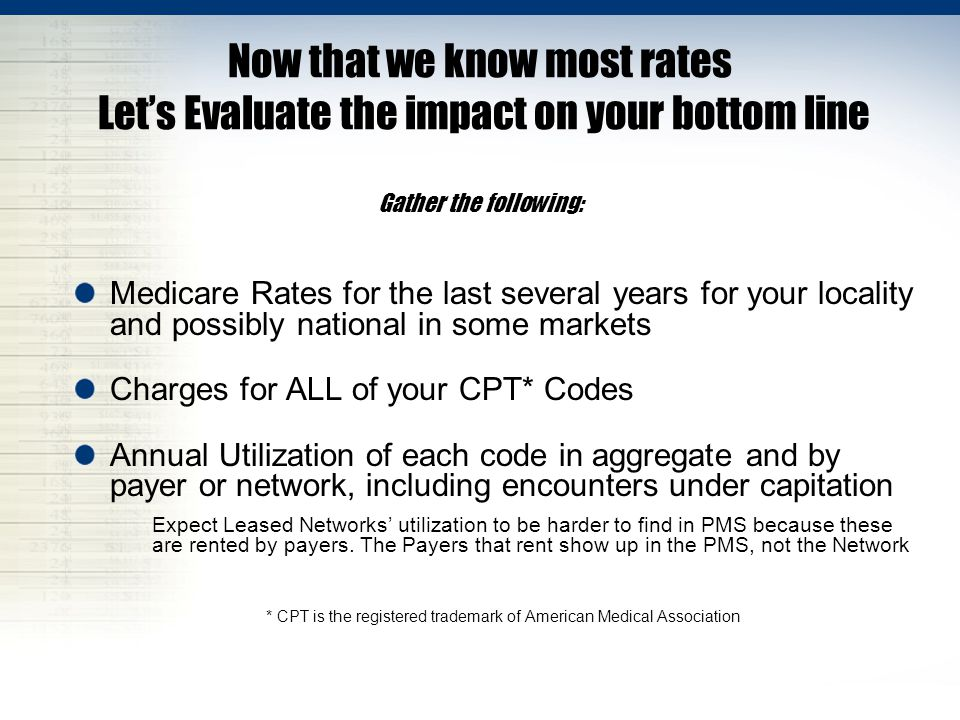 Now that we know most rates Let's Evaluate the impact on your bottom line Gather the following: Medicare Rates for the last several years for your locality and possibly national in some markets Charges for ALL of your CPT* Codes Annual Utilization of each code in aggregate and by payer or network, including encounters under capitation Expect Leased Networks' utilization to be harder to find in PMS because these are rented by payers.