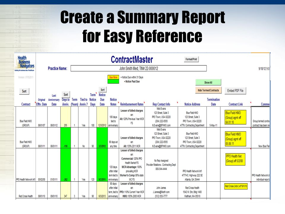 Create a Summary Report for Easy Reference