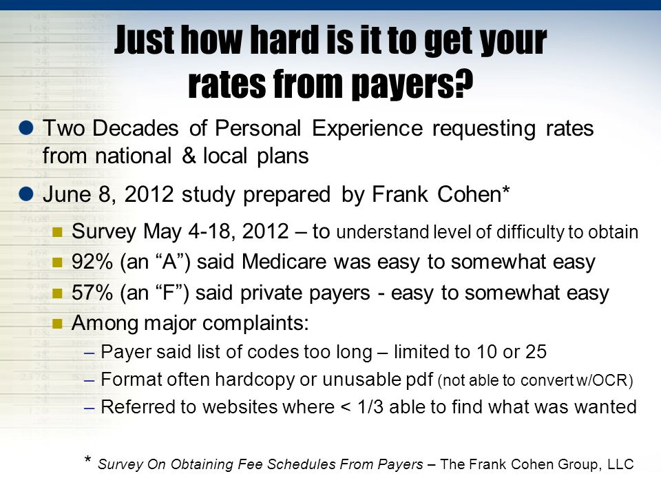 Just how hard is it to get your rates from payers.