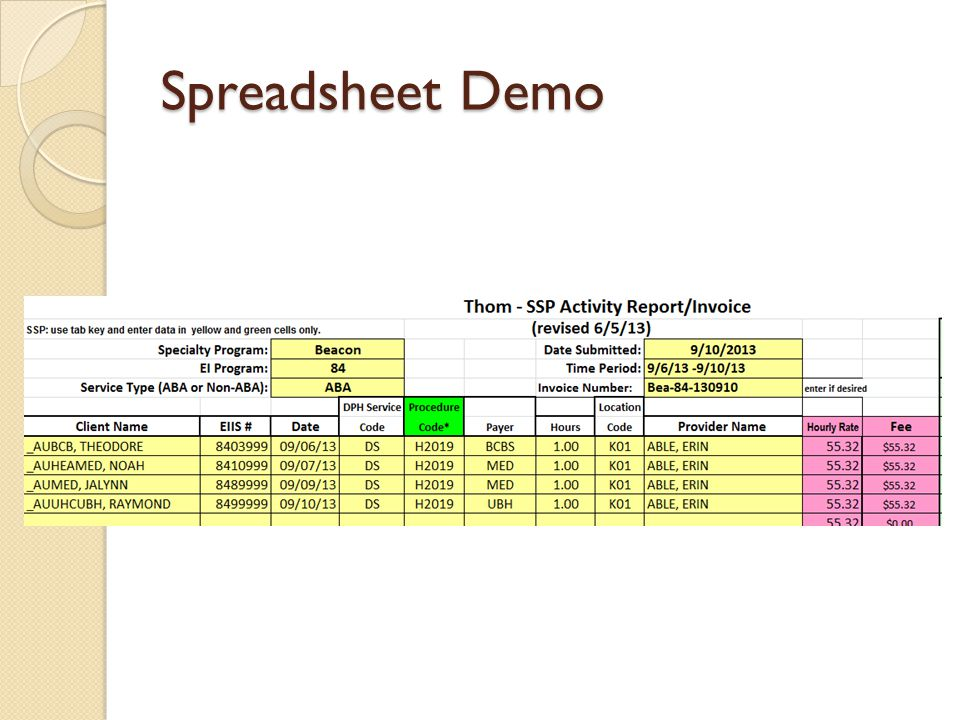 Spreadsheet Demo