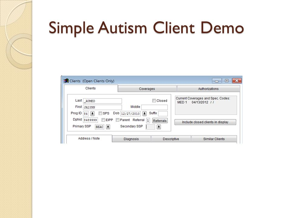 Simple Autism Client Demo