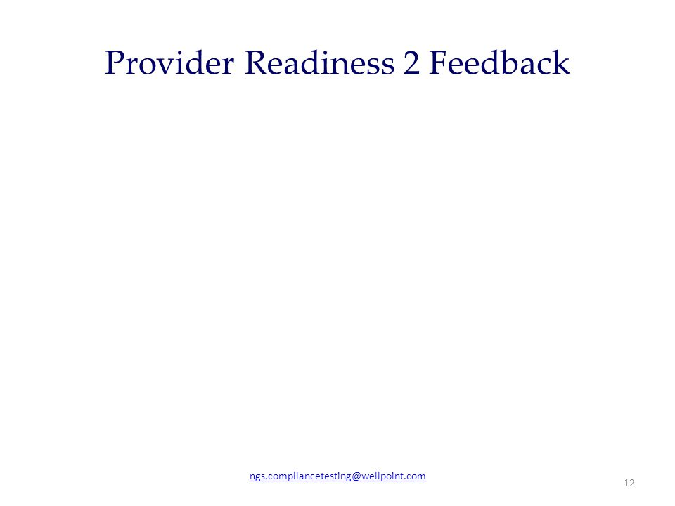 Provider Readiness 2 Feedback ngs.compliancetesting@wellpoint.com 12