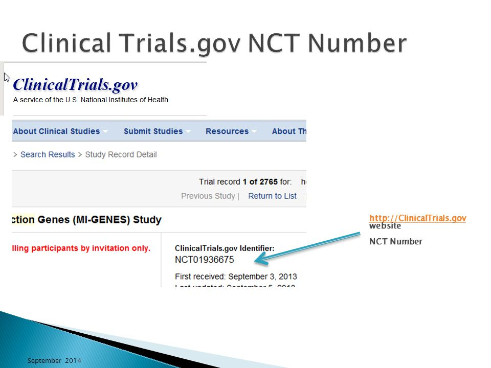 Clinical Trials.gov NCT Number http://ClinicalTrials.gov http://ClinicalTrials.gov website NCT Number http://ClinicalTrials.gov