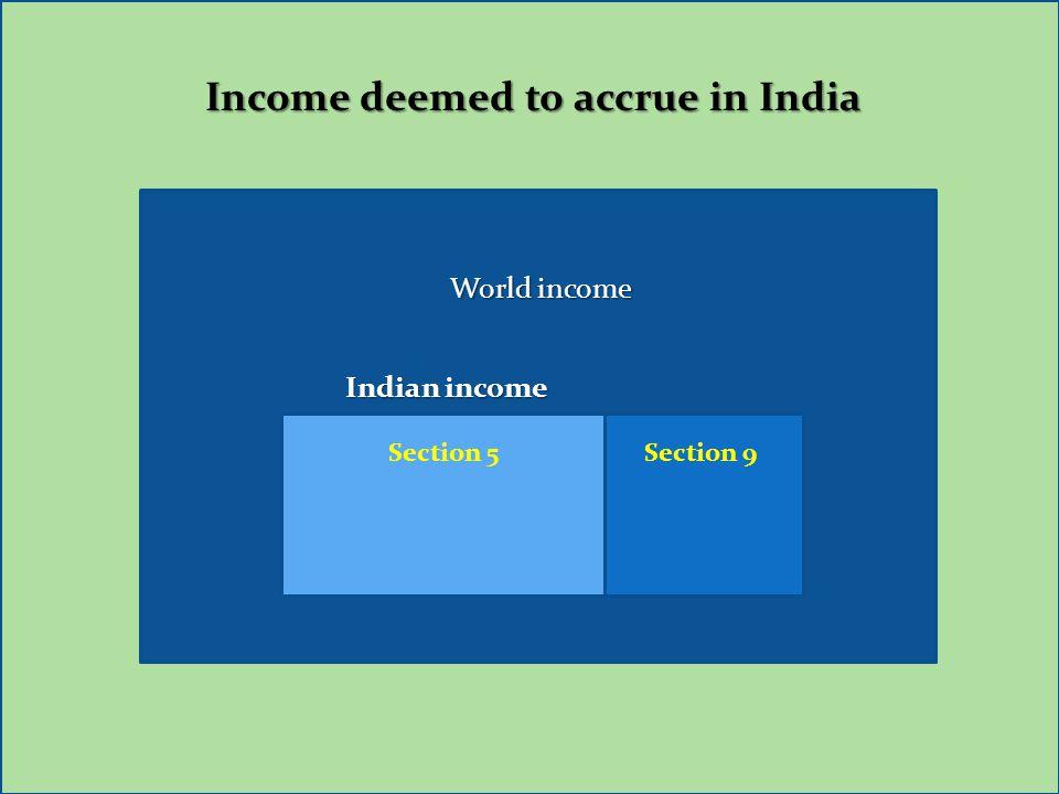 Income deemed to accrue in India World income Indian income Indian income Section 5 Section 9