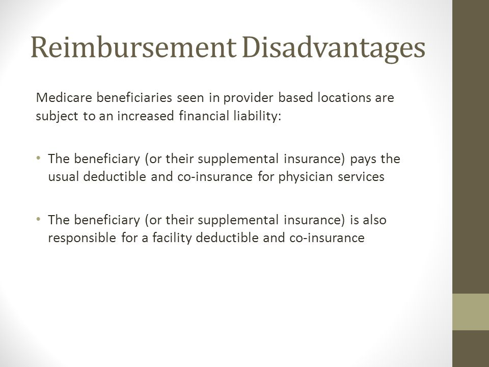 Reimbursement Disadvantages Medicare beneficiaries seen in provider based locations are subject to an increased financial liability: The beneficiary (