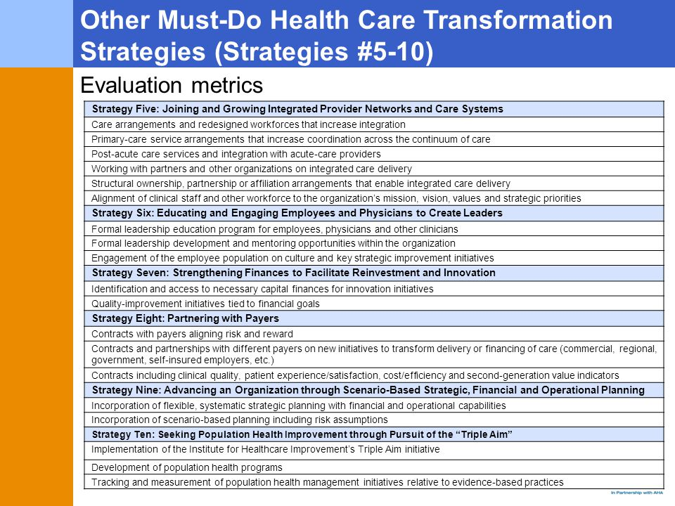 Other Must-Do Health Care Transformation Strategies (Strategies #5-10) Strategy Five: Joining and Growing Integrated Provider Networks and Care Systems Care arrangements and redesigned workforces that increase integration Primary-care service arrangements that increase coordination across the continuum of care Post-acute care services and integration with acute-care providers Working with partners and other organizations on integrated care delivery Structural ownership, partnership or affiliation arrangements that enable integrated care delivery Alignment of clinical staff and other workforce to the organization's mission, vision, values and strategic priorities Strategy Six: Educating and Engaging Employees and Physicians to Create Leaders Formal leadership education program for employees, physicians and other clinicians Formal leadership development and mentoring opportunities within the organization Engagement of the employee population on culture and key strategic improvement initiatives Strategy Seven: Strengthening Finances to Facilitate Reinvestment and Innovation Identification and access to necessary capital finances for innovation initiatives Quality-improvement initiatives tied to financial goals Strategy Eight: Partnering with Payers Contracts with payers aligning risk and reward Contracts and partnerships with different payers on new initiatives to transform delivery or financing of care (commercial, regional, government, self-insured employers, etc.) Contracts including clinical quality, patient experience/satisfaction, cost/efficiency and second-generation value indicators Strategy Nine: Advancing an Organization through Scenario-Based Strategic, Financial and Operational Planning Incorporation of flexible, systematic strategic planning with financial and operational capabilities Incorporation of scenario-based planning including risk assumptions Strategy Ten: Seeking Population Health Improvement through Pursuit of the Triple Aim Implementation of the Institute for Healthcare Improvement's Triple Aim initiative Development of population health programs Tracking and measurement of population health management initiatives relative to evidence-based practices Evaluation metrics