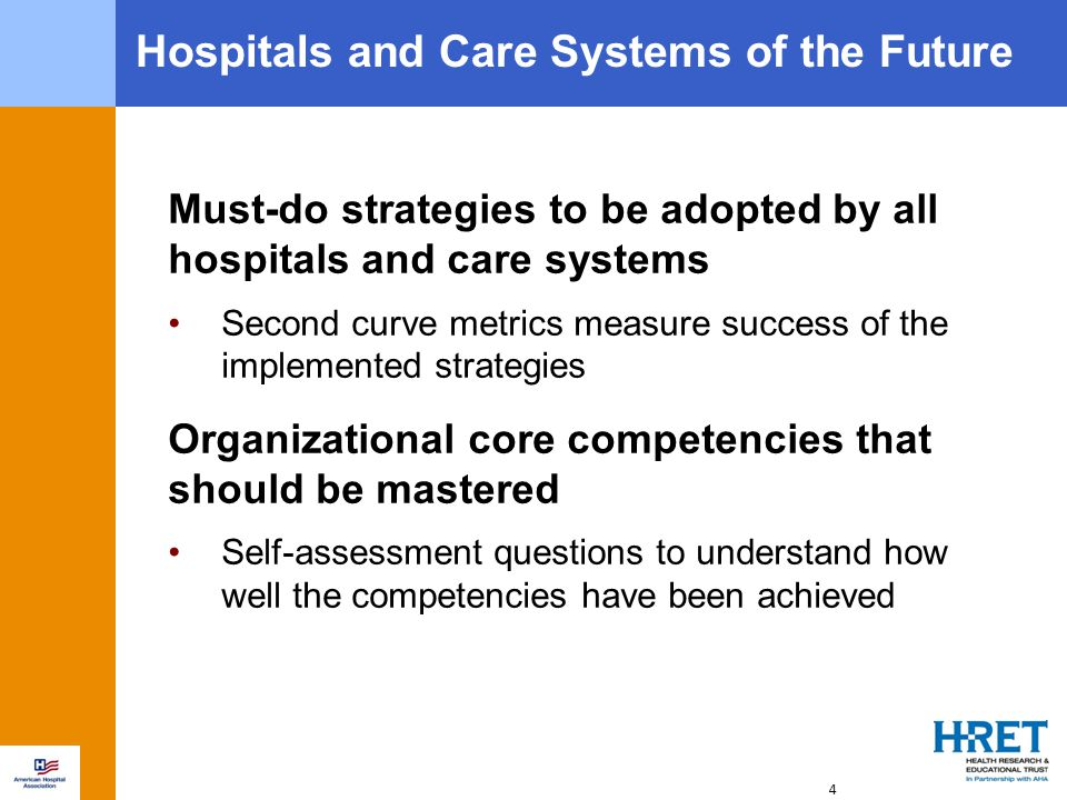 Must-do strategies to be adopted by all hospitals and care systems Second curve metrics measure success of the implemented strategies Organizational core competencies that should be mastered Self-assessment questions to understand how well the competencies have been achieved 4 Hospitals and Care Systems of the Future