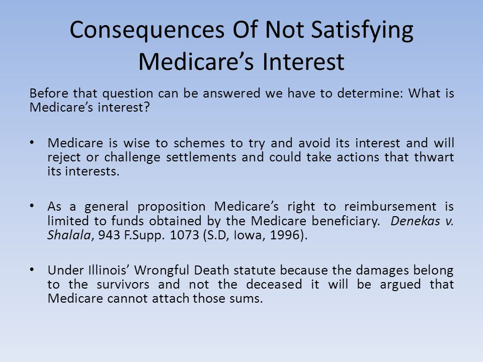 Consequences Of Not Satisfying Medicare's Interest Before that question can be answered we have to determine: What is Medicare's interest? Medicare is