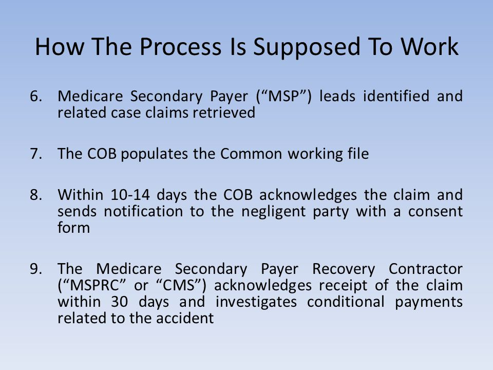 """How The Process Is Supposed To Work 6.Medicare Secondary Payer (""""MSP"""") leads identified and related case claims retrieved 7.The COB populates the Comm"""