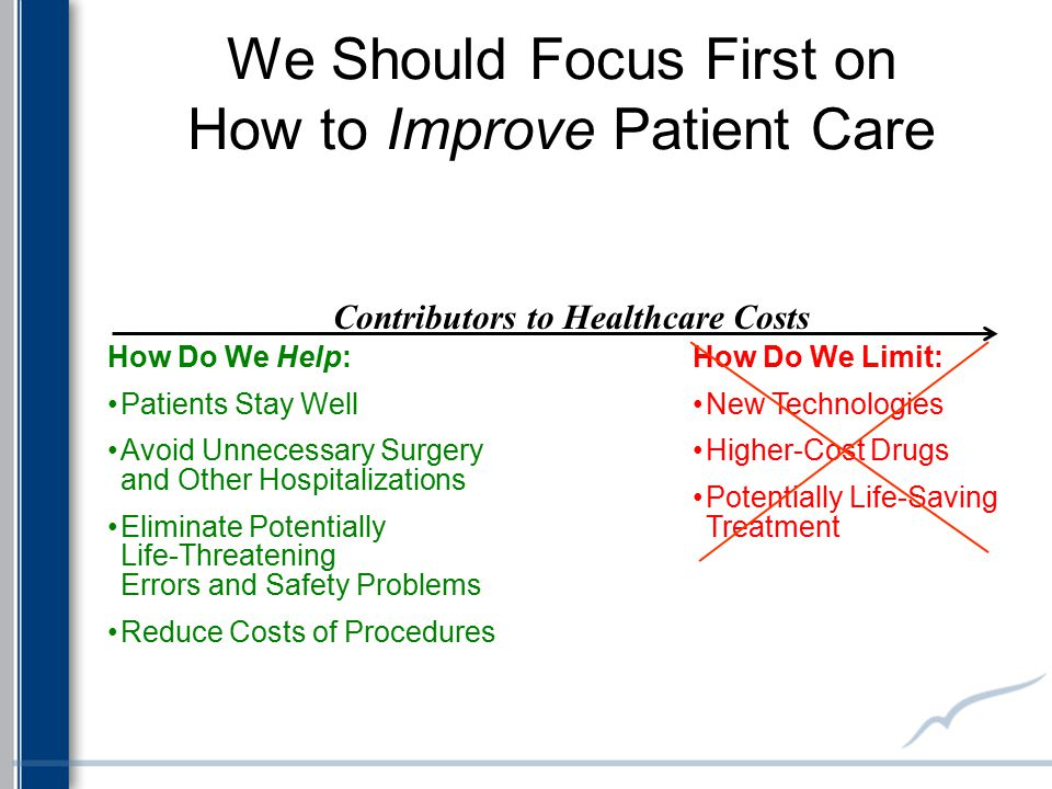 We Should Focus First on How to Improve Patient Care How Do We Limit: New Technologies Higher-Cost Drugs Potentially Life-Saving Treatment How Do We H