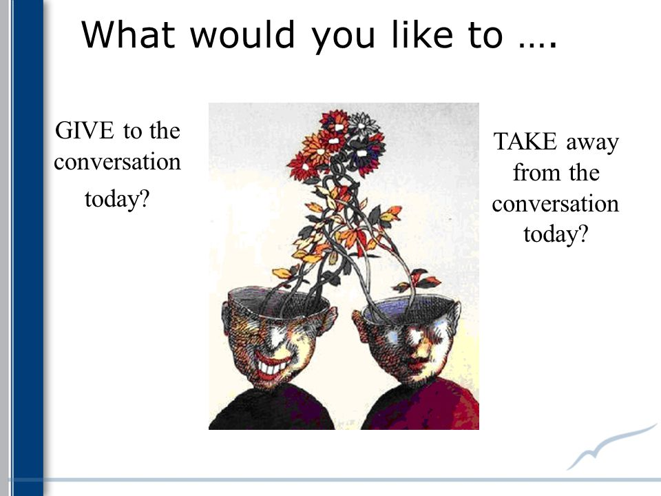 What would you like to …. GIVE to the conversation today? TAKE away from the conversation today?