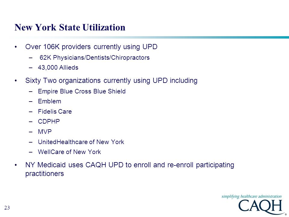 23 Over 106K providers currently using UPD – 62K Physicians/Dentists/Chiropractors –43,000 Allieds Sixty Two organizations currently using UPD including –Empire Blue Cross Blue Shield –Emblem –Fidelis Care –CDPHP –MVP –UnitedHealthcare of New York –WellCare of New York NY Medicaid uses CAQH UPD to enroll and re-enroll participating practitioners New York State Utilization