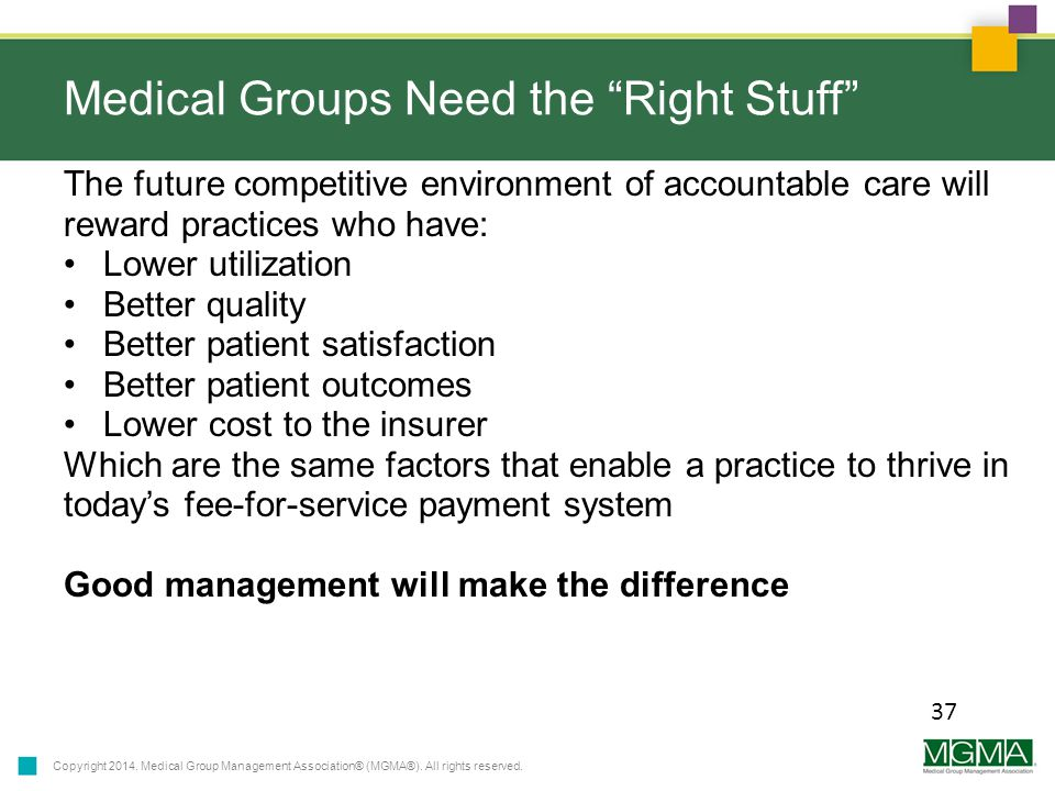 Copyright 2014. Medical Group Management Association® (MGMA®).