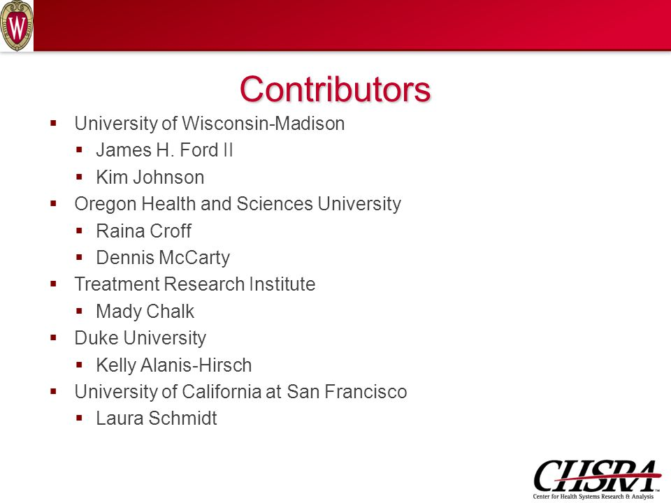 Contributors  University of Wisconsin-Madison  James H.