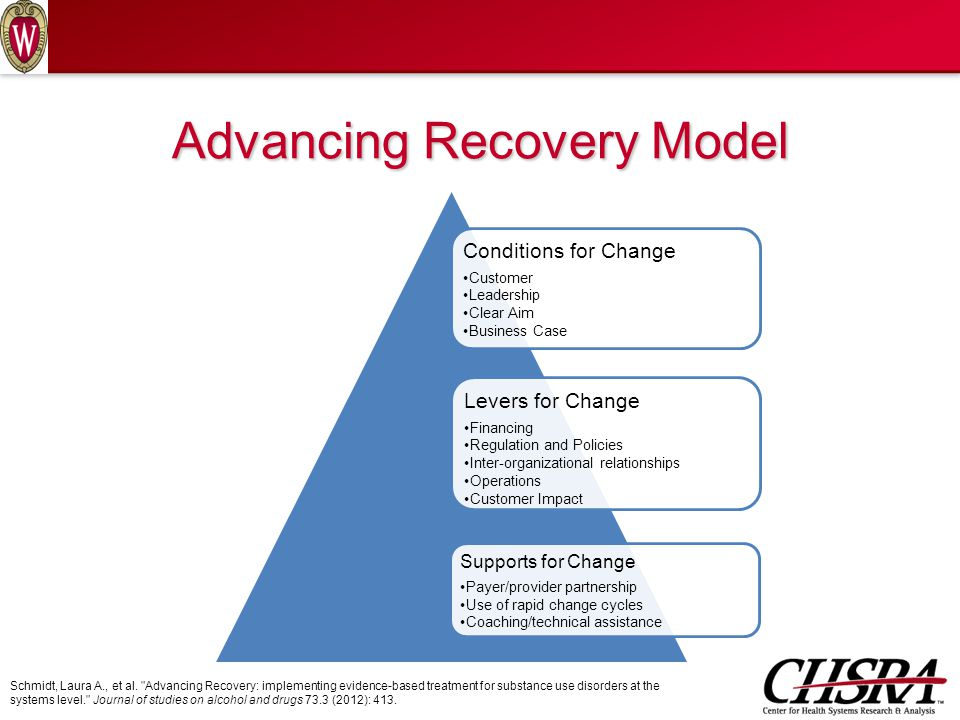Advancing Recovery Model Conditions for Change Customer Leadership Clear Aim Business Case Levers for Change Financing Regulation and Policies Inter-organizational relationships Operations Customer Impact Supports for Change Payer/provider partnership Use of rapid change cycles Coaching/technical assistance Schmidt, Laura A., et al.