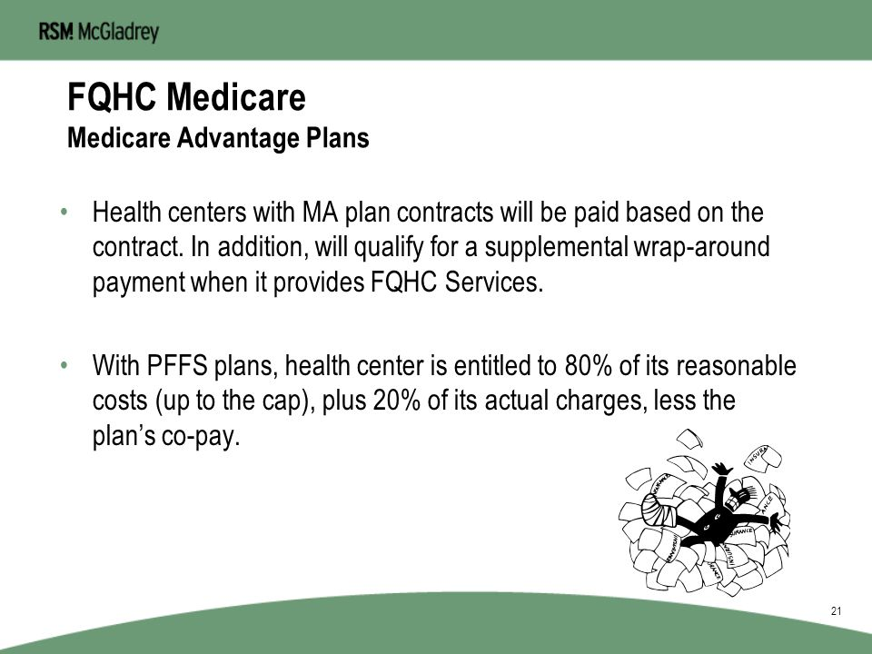 FQHC Medicare Medicare Advantage Plans The Medicare Prescription Drug, Improvement, and Modernization Act of 2003 renamed the Medicare+Choice plan and