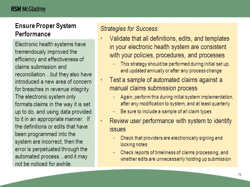 Ensure Proper System Performance 75 System Performance Proper Coding Define Scope of Care Acurate Charting MonitoringFeedback BoardClinicansStaff