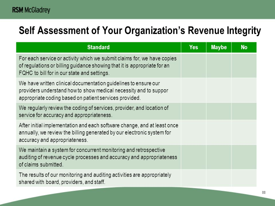 McGladrey Pyramid of Revenue Integrity 87 System Performance Proper Coding Define Scope of Care Acurate Charting MonitoringFeedback BoardClinicansStaf