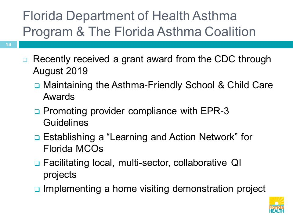 Florida Department of Health Asthma Program & The Florida Asthma Coalition 14  Recently received a grant award from the CDC through August 2019  Maintaining the Asthma-Friendly School & Child Care Awards  Promoting provider compliance with EPR-3 Guidelines  Establishing a Learning and Action Network for Florida MCOs  Facilitating local, multi-sector, collaborative QI projects  Implementing a home visiting demonstration project