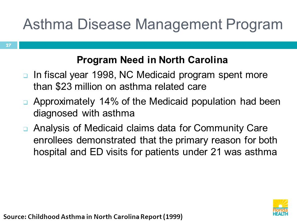 Asthma Disease Management Program 27 Program Need in North Carolina  In fiscal year 1998, NC Medicaid program spent more than $23 million on asthma related care  Approximately 14% of the Medicaid population had been diagnosed with asthma  Analysis of Medicaid claims data for Community Care enrollees demonstrated that the primary reason for both hospital and ED visits for patients under 21 was asthma Source: Childhood Asthma in North Carolina Report (1999)