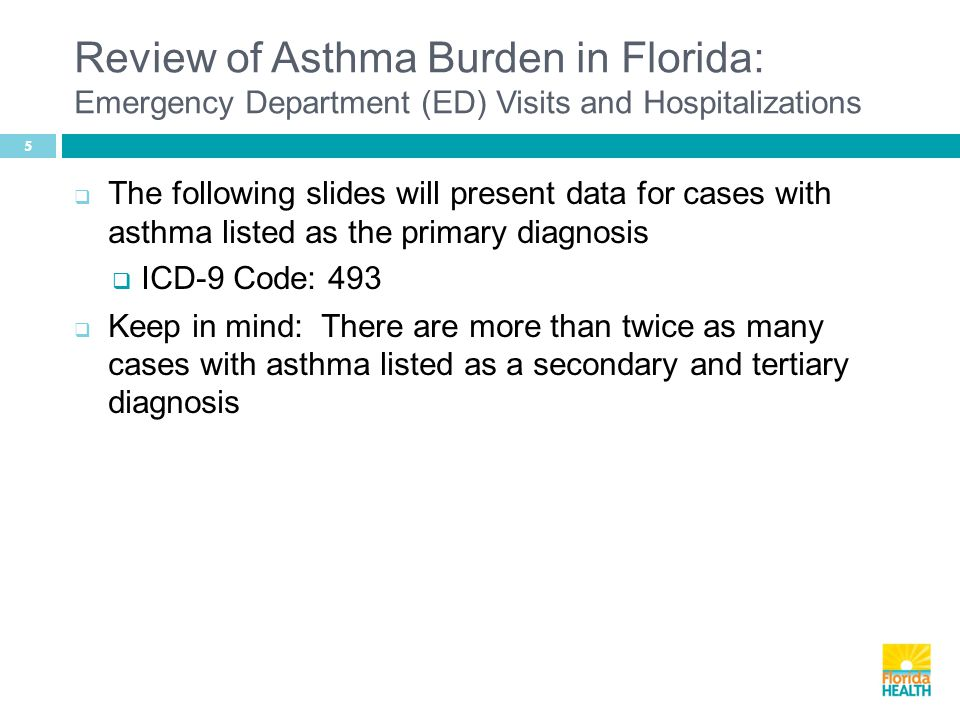 Review of Asthma Burden in Florida: Emergency Department (ED) Visits and Hospitalizations 5  The following slides will present data for cases with asthma listed as the primary diagnosis  ICD-9 Code: 493  Keep in mind: There are more than twice as many cases with asthma listed as a secondary and tertiary diagnosis