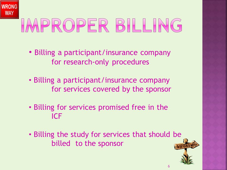 Billing a participant/insurance company for research-only procedures Billing a participant/insurance company for services covered by the sponsor Billi