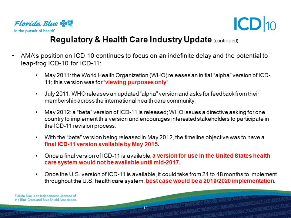 Regulatory & Health Care Industry Update (continued) AMA's position on ICD-10 continues to focus on an indefinite delay and the potential to leap-frog ICD-10 for ICD-11: May 2011: the World Health Organization (WHO) releases an initial alpha version of ICD- 11; this version was for viewing purposes only .
