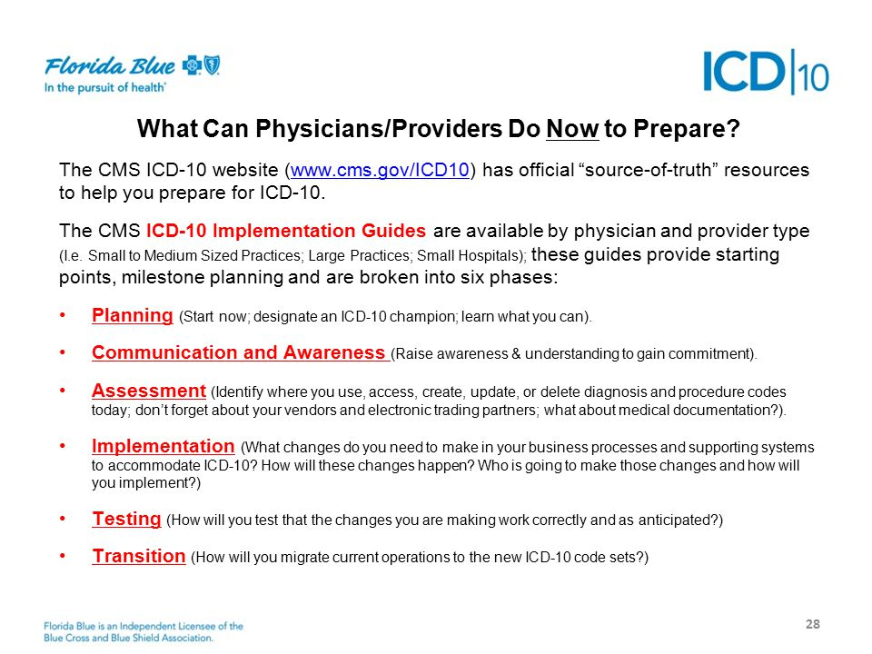 Next Steps 28 What Can Physicians/Providers Do Now to Prepare.
