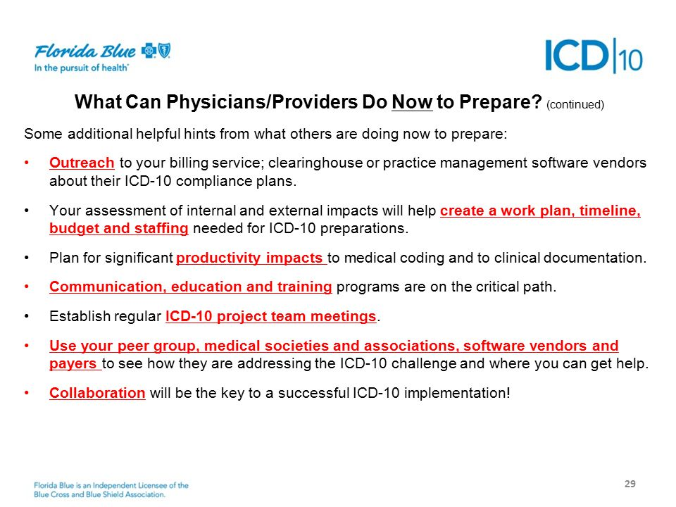 Next Steps 29 What Can Physicians/Providers Do Now to Prepare.
