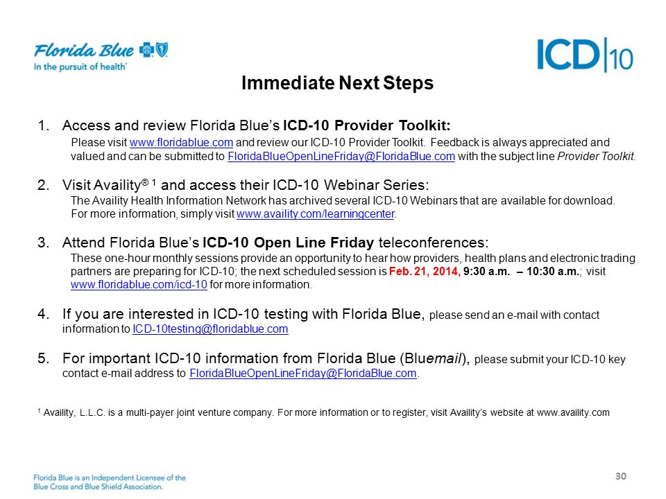 Next Steps 30 Immediate Next Steps 1.Access and review Florida Blue's ICD-10 Provider Toolkit: Please visit www.floridablue.com and review our ICD-10 Provider Toolkit.