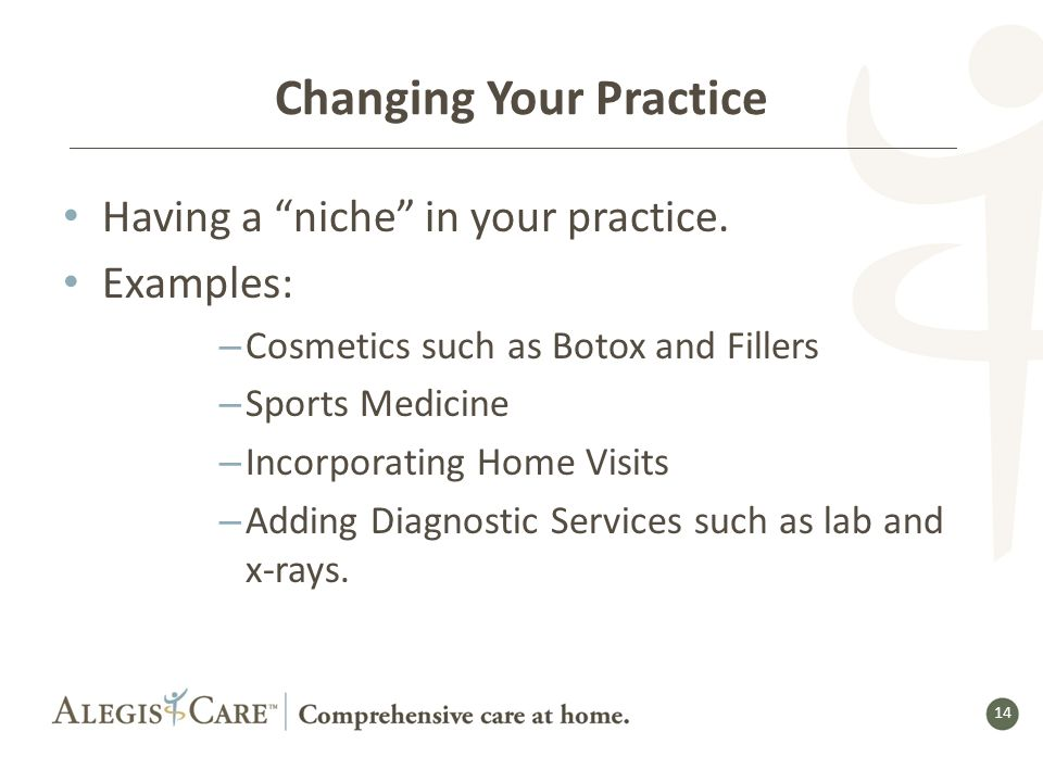 14 Changing Your Practice Having a niche in your practice.