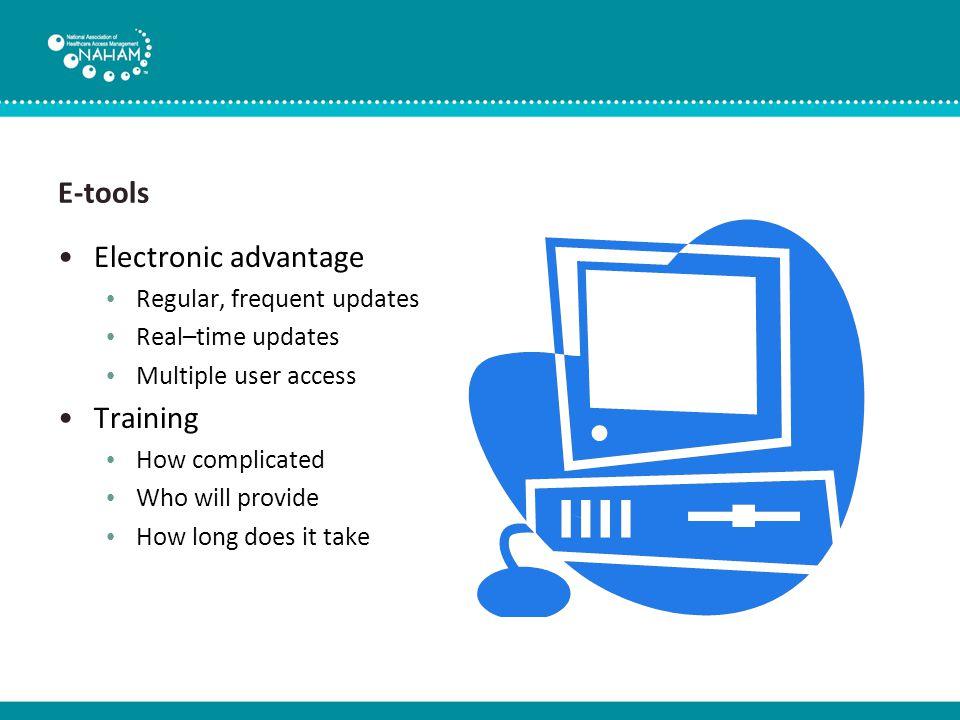 E-tools Technical requirements Web-based Hospital server I.T.