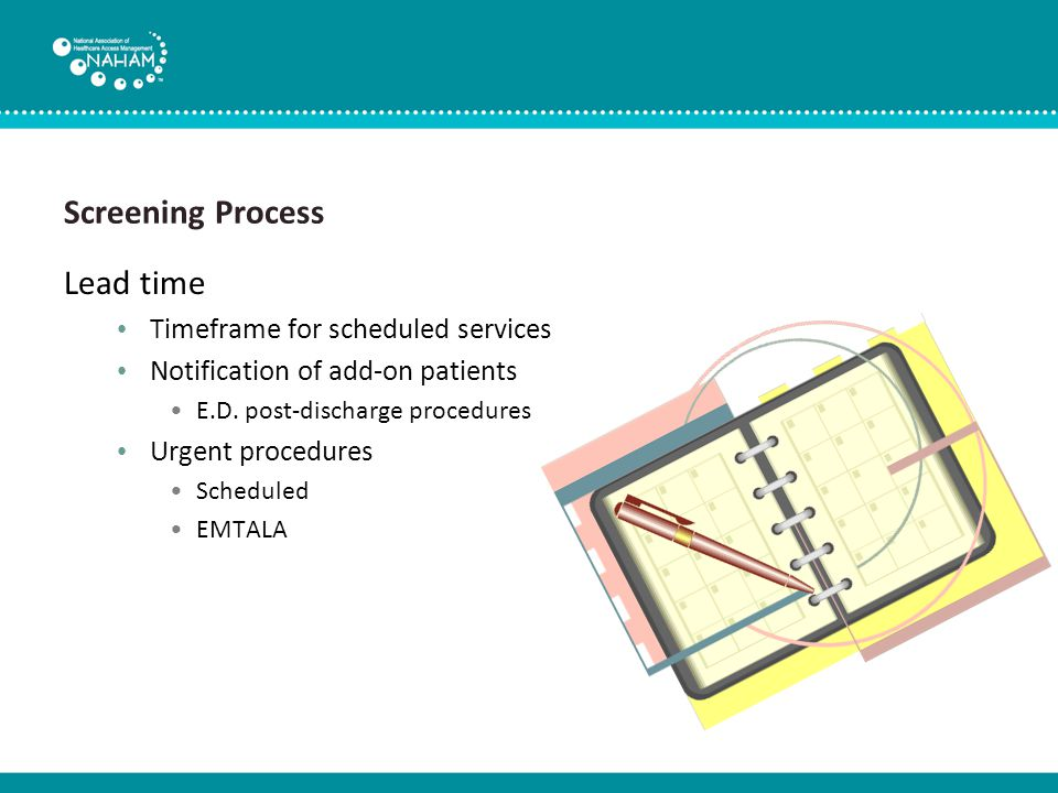 Screening Process Communications Physician queries Amending orders Documentation Notifications Physician Patient ABN Rescheduling and cancellations