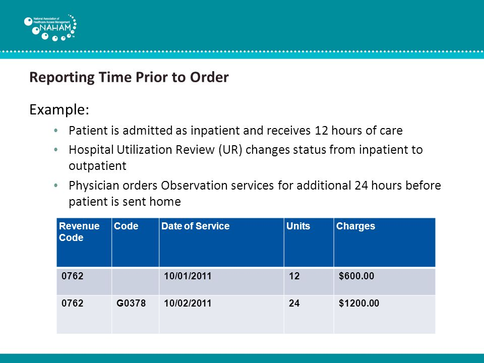 Reporting Time Prior to Order Example: Patient is admitted as inpatient and receives 12 hours of care Hospital Utilization Review (UR) changes status from inpatient to outpatient Physician orders Observation services for additional 24 hours before patient is sent home Revenue Code CodeDate of ServiceUnitsCharges 076210/01/201112$600.00 0762G037810/02/201124$1200.00