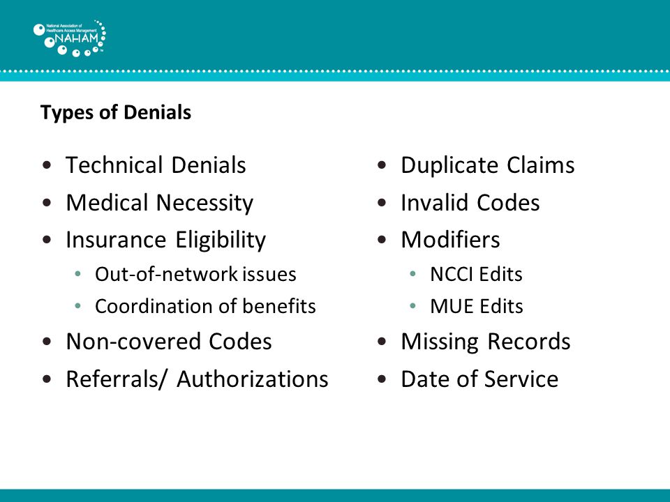 Providers' Cost of Denials Compliance Impact on A/R days Revenue impact- denials can vary among hospitals in terms of volume and cost, roughly 12% to 15% of gross charges are initially rejected by payers.