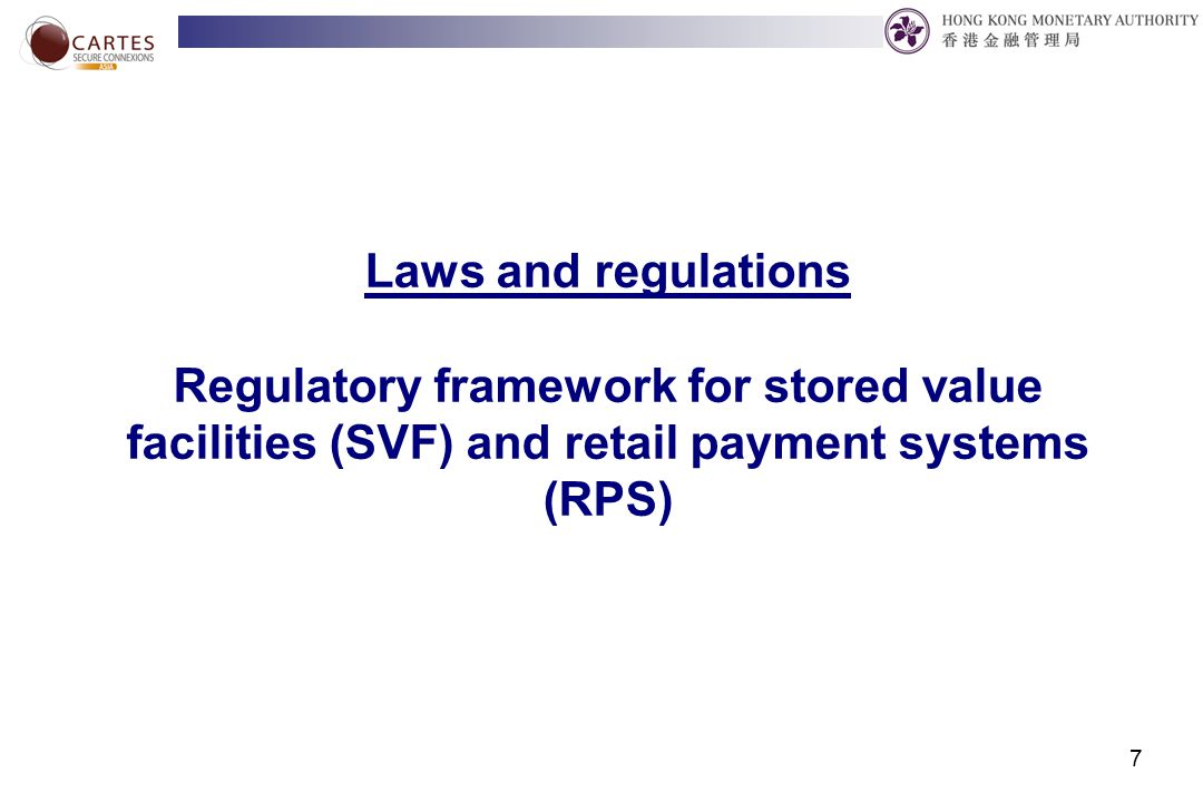 8 Underlying rationale for the new legislation Safety and efficiency  Protect and enhance the benefits of the users (especially the float in the case of SVF) Foster innovation and competition  Development perspective for the overall benefit of the economy