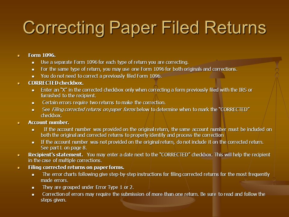 Correcting Paper Filed Returns Form 1096.Form 1096.