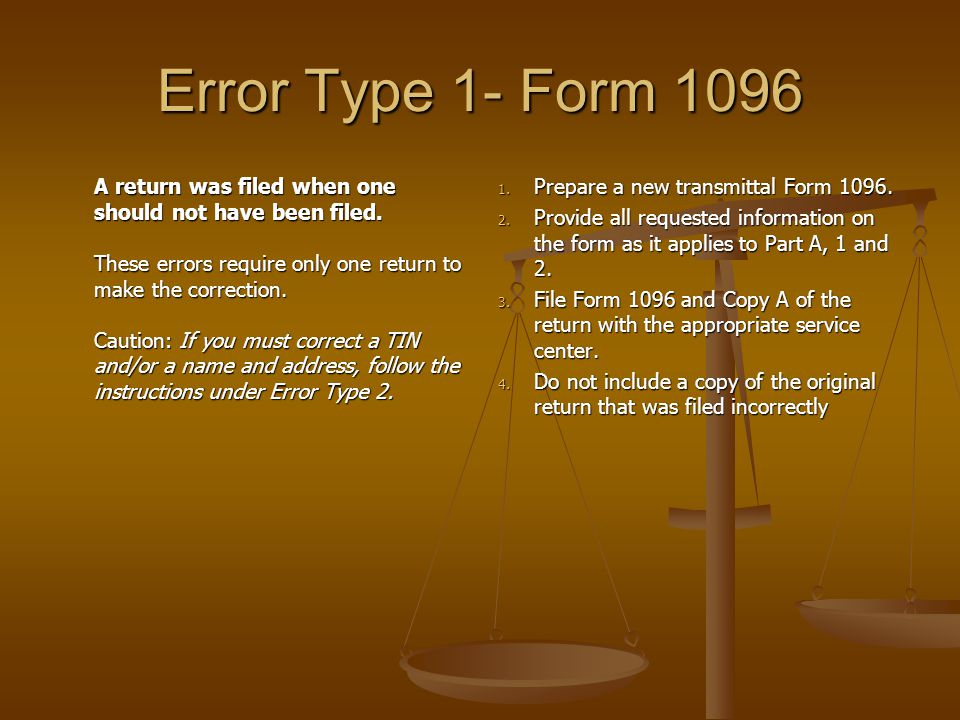Error Type 1- Form 1096 A return was filed when one should not have been filed.