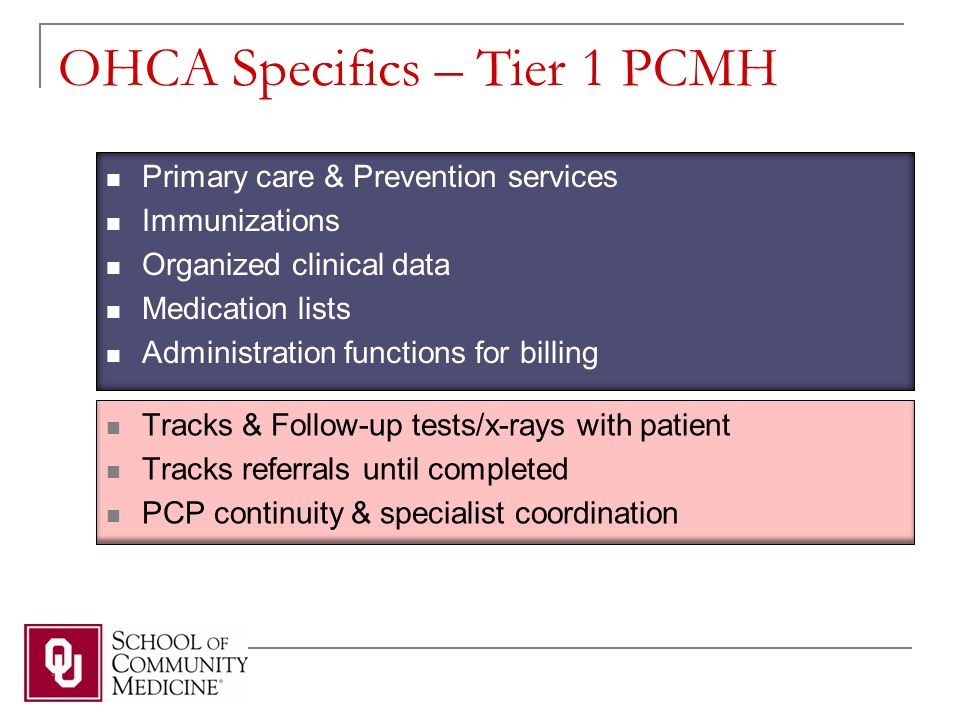 OHCA Specifics – Tier 1 PCMH Primary care & Prevention services Immunizations Organized clinical data Medication lists Administration functions for billing Tracks & Follow-up tests/x-rays with patient Tracks referrals until completed PCP continuity & specialist coordination