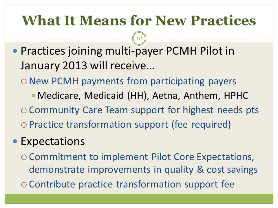 What It Means for New Practices Practices joining multi-payer PCMH Pilot in January 2013 will receive…  New PCMH payments from participating payers  Medicare, Medicaid (HH), Aetna, Anthem, HPHC  Community Care Team support for highest needs pts  Practice transformation support (fee required) Expectations  Commitment to implement Pilot Core Expectations, demonstrate improvements in quality & cost savings  Contribute practice transformation support fee 18