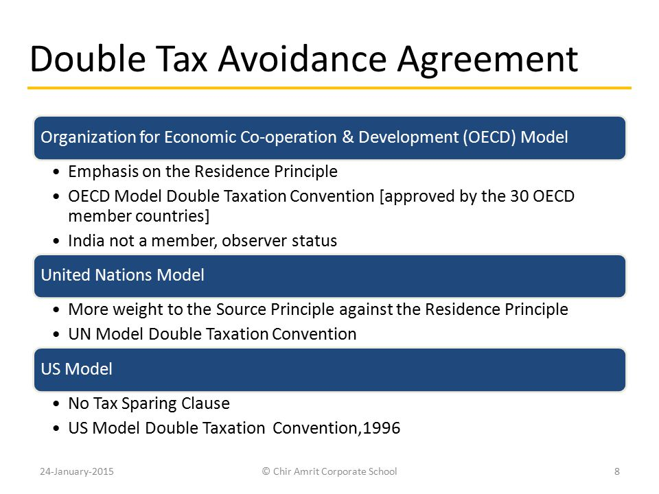 Double Tax Avoidance Agreement Organization for Economic Co-operation & Development (OECD) Model Emphasis on the Residence Principle OECD Model Double