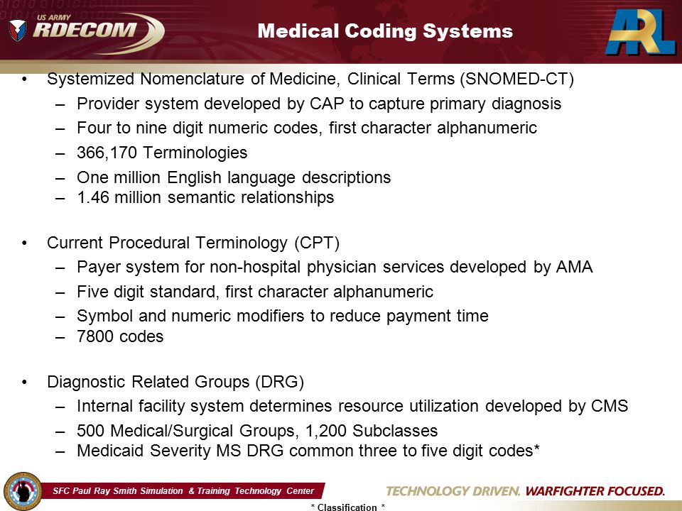 SFC Paul Ray Smith Simulation & Training Technology Center * Classification * Medical Coding Systems Systemized Nomenclature of Medicine, Clinical Terms (SNOMED-CT) –Provider system developed by CAP to capture primary diagnosis –Four to nine digit numeric codes, first character alphanumeric –366,170 Terminologies –One million English language descriptions –1.46 million semantic relationships Current Procedural Terminology (CPT) –Payer system for non-hospital physician services developed by AMA –Five digit standard, first character alphanumeric –Symbol and numeric modifiers to reduce payment time –7800 codes Diagnostic Related Groups (DRG) –Internal facility system determines resource utilization developed by CMS –500 Medical/Surgical Groups, 1,200 Subclasses –Medicaid Severity MS DRG common three to five digit codes*