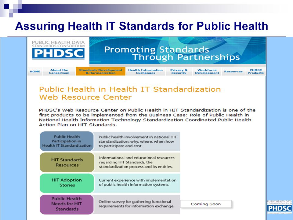 Assuring Health IT Standards for Public Health