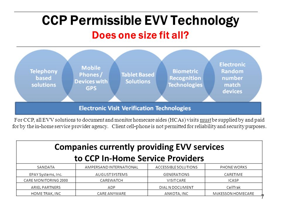 7 Companies currently providing EVV services to CCP In-Home Service Providers SANDATAAMPERSAND INTERNATIONALACCESSIBLE SOLUTIONSPHONE WORKS EPAY Systems, Inc.AUGUST SYSTEMSGENERATIONSCARETIME CARE MONITORING 2000CAREWATCHVISIT CAREICASP ARIEL PARTNERSADPDIAL N DOCUMENTCellTrak HOME TRAK, INCCARE ANYWAREANKOTA, INCMcKESSON HOMECARE CCP Permissible EVV Technology Does one size fit all.