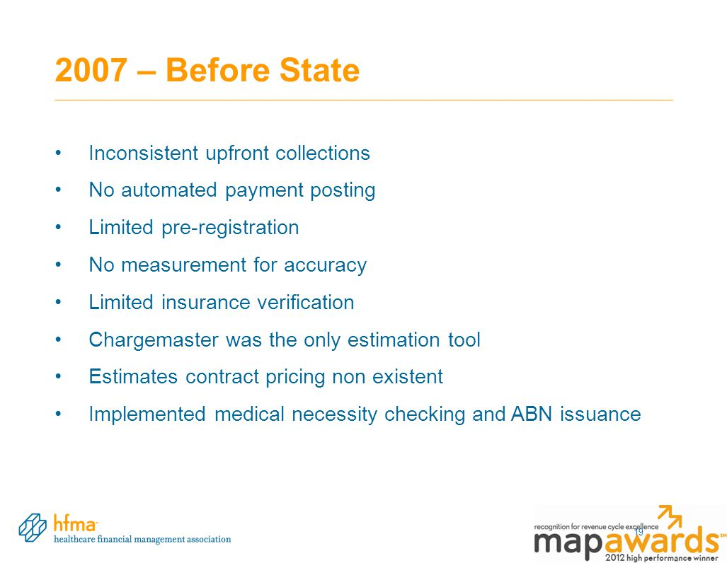 2007 – Before State 19 Inconsistent upfront collections No automated payment posting Limited pre-registration No measurement for accuracy Limited insu