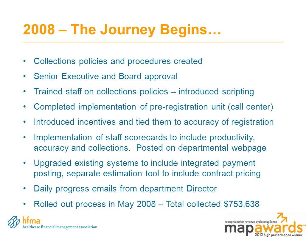 2008 – The Journey Begins… Collections policies and procedures created Senior Executive and Board approval Trained staff on collections policies – int