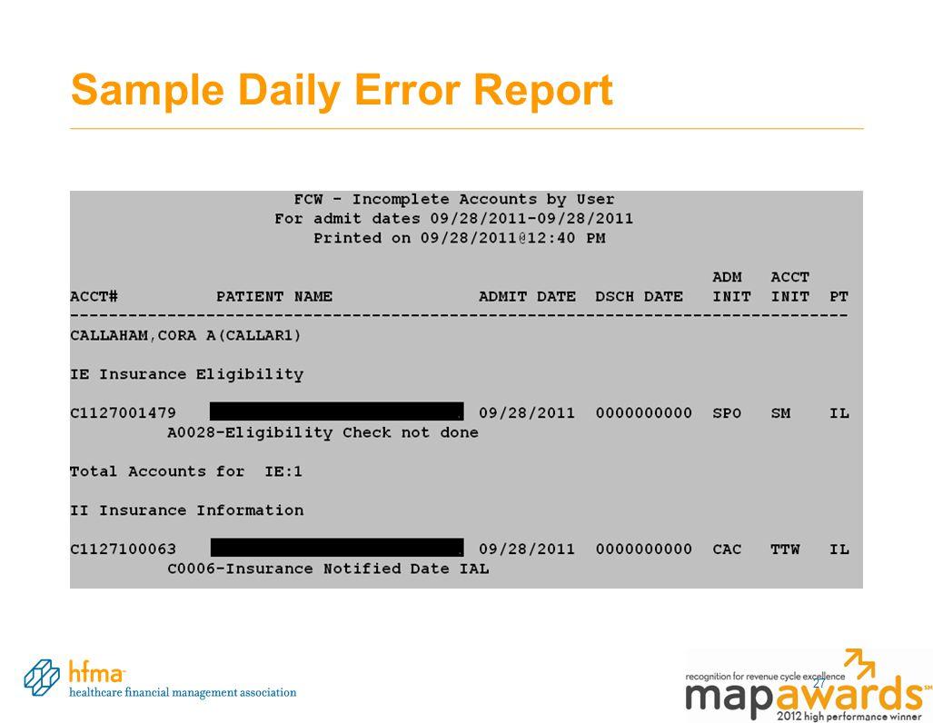 Sample Daily Error Report 27