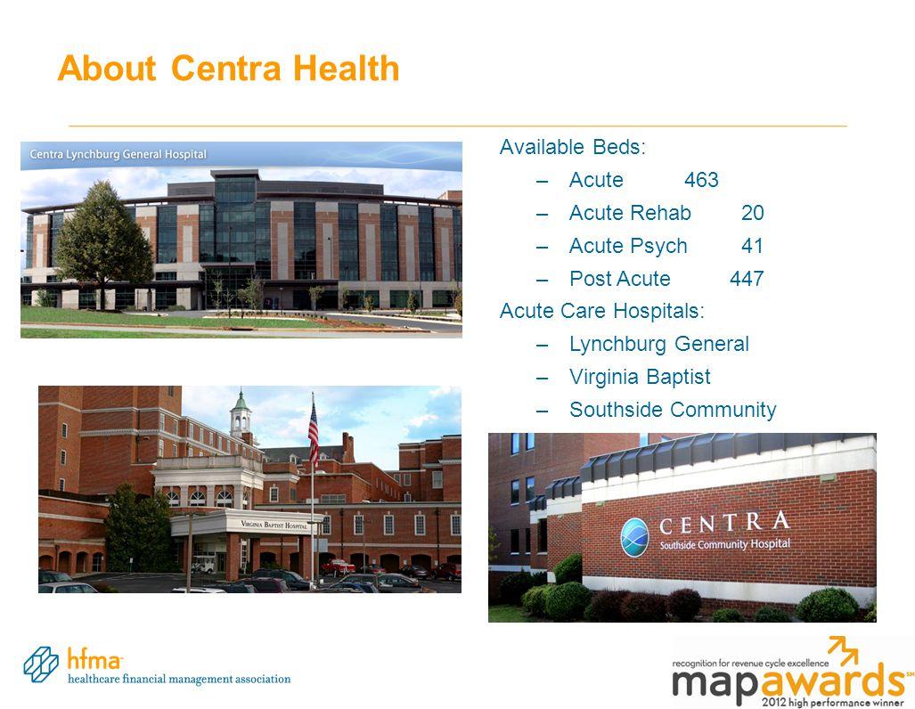 About Centra Health Available Beds: –Acute463 –Acute Rehab 20 –Acute Psych 41 –Post Acute447 Acute Care Hospitals: –Lynchburg General –Virginia Baptist –Southside Community