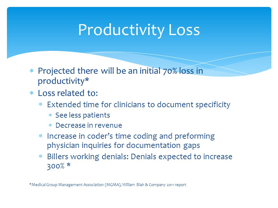  Projected there will be an initial 70% loss in productivity*  Loss related to:  Extended time for clinicians to document specificity  See less patients  Decrease in revenue  Increase in coder's time coding and preforming physician inquiries for documentation gaps  Billers working denials: Denials expected to increase 300% * *Medical Group Management Association (MGMA), William Blair & Company 2011 report Productivity Loss